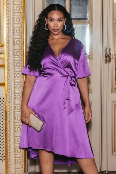 Curve Purple Satin Wrap Dress